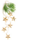 Christmas ornaments decoration Golden stars evergreen branches Stock Photography