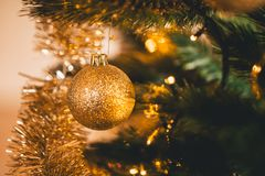 Gold Christmas Ornaments and decoration on a Christmas tree. Christmas Ornaments and decoration on a Christmas tree, green tree inside house with the lights on Royalty Free Stock Images