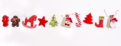 Christmas ornaments decoration Winter Holidays banner. Christmas ornaments and decorations on white background. Winter Holidays banner Stock Photo