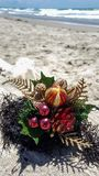 Christmas ornaments and decorations at the beach Stock Images