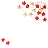 Christmas ornaments decorations Golden stars red baubles flat la Stock Image