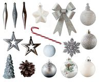 Christmas ornaments and decorations isolated on white background.