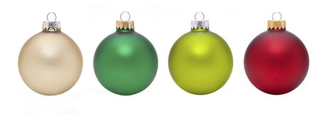 Christmas ornaments. 4 different Christmas ornaments on white background Stock Photography