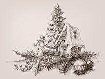 Christmas ornaments drawing royalty free illustration