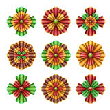 Christmas ornaments elements, bows clip art, abstract flowers isolated illustration Royalty Free Stock Photo