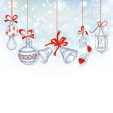 Christmas ornaments. Festive background in blue and white background Stock Photo