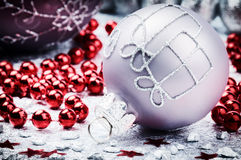 Christmas ornaments in festive setting Stock Image