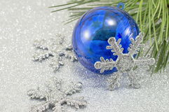 Christmas ornaments with fir tree Royalty Free Stock Photos