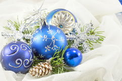 Christmas ornaments with fir tree Stock Photography