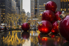 Christmas Ornaments in a Fountain NYC Stock Photo