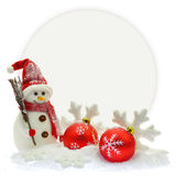 Christmas ornaments in front of a paper card Royalty Free Stock Photo