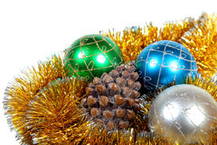 Christmas ornaments and fur-tree snag Stock Photos