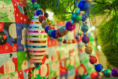 Christmas ornaments with gifts Royalty Free Stock Photos