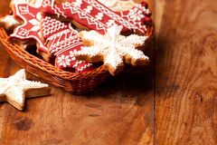 Christmas ornaments and gingerbread cookies Stock Photo