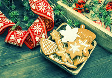 Christmas ornaments and gingerbread cookies. retro style. Christmas ornaments and gingerbread cookies. vintage still life. retro style toned picture Royalty Free Stock Photo