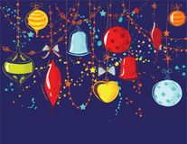 Christmas ornaments. Glass balls,bell, heart, garland Royalty Free Stock Image