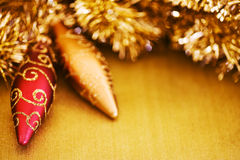 Christmas Ornaments with Glitter Background Royalty Free Stock Photo