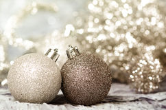 Christmas ornaments of gold and silver Royalty Free Stock Images