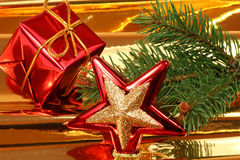 Christmas ornaments on golden background Stock Photo