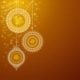 Christmas ornaments on golden background Royalty Free Stock Photos