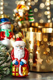 Christmas ornaments with golden shiny lights Stock Images