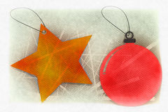 Christmas Ornaments Greeting card cover. Greeting cards - Merry Christmas - Feliz Natal - Christmas ornaments royalty free illustration