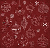 Christmas Ornaments. Hand drawn Christmas Ornaments collection Stock Image