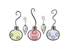 Christmas ornaments. Hand drawn illustration of a set of christmas ornaments, soft-colored ( on white background Stock Images
