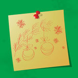 Christmas ornaments hand drawn message. On sticky paper, eps10 vector illustration stock illustration