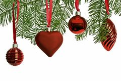 Christmas ornaments hanging in the tree Stock Image