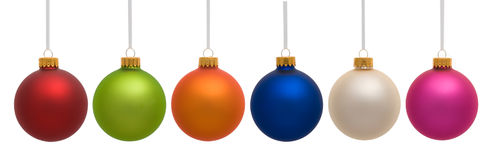 Christmas Ornaments Hanging on White Stock Images