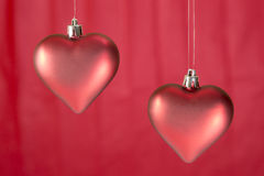 Christmas ornaments heart shaped Stock Image