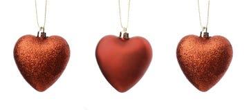 Christmas ornaments - hearts. Stock Image