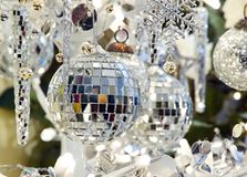 Christmas ornaments holiday decoration. Glass and mirror christmas ornaments holiday decoration - shallow focus Stock Photo