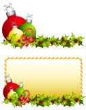 Christmas Ornaments Holly. An illustration featuring Christmas ornaments and candy canes with holly in 2 different images Royalty Free Stock Photography