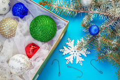 Christmas ornaments and hooks, snowflake and Christmas tree Royalty Free Stock Images