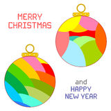 Christmas Ornaments. An illustration of two multicolored Christmas ornaments isolated on white. Round pixel Christmas and New Year messages Royalty Free Stock Image
