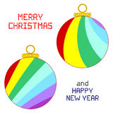 Christmas Ornaments. An illustration of two multicolored Christmas ornaments isolated on white. Square pixel Christmas and New Year messages Stock Images