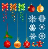 Christmas ornaments s. Christmas ornaments isolated blue background s, For Christmas tree decorations Stock Image