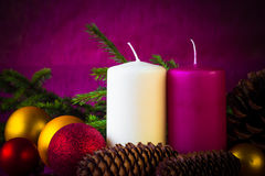 Christmas ornaments Lamps candles baubles spruce twigs Royalty Free Stock Photography