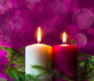 Christmas ornaments lighted candles spruce twigs Royalty Free Stock Image