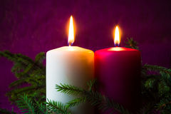 Christmas ornaments lighted candles spruce twigs Stock Images