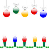 Christmas Ornaments & Lights. Colorful Merry Christmas decorations and string of holiday lights, copyspace in between royalty free illustration