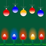 Christmas Ornaments & Lights. Colorful Merry Christmas ornaments, and holiday lights glow on a green background stock illustration