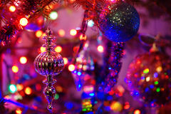 Christmas ornaments and lights Stock Photo