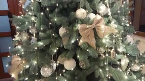 Beautiful Christmas tree with ornaments stock video footage