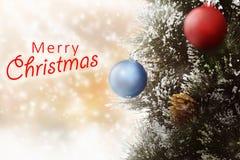 Christmas ornaments like pine tree and christmas ball Stock Photos
