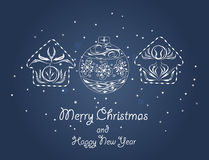 Christmas ornaments made from hand draw Royalty Free Stock Images