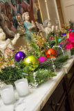 Christmas Ornaments on a Marble Mantle Royalty Free Stock Image