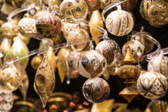 Christmas ornaments in the market Royalty Free Stock Images